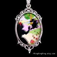 Alice in Wonderland pendant Silver necklace Rabbit by RingRingRing