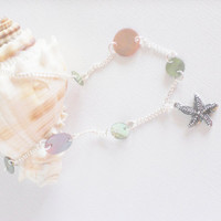 Nautical Starfish Necklace with Green and Pink by Meghanlee5