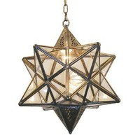 "Syrian brass lantern - 13"" diameter - Antique brass & glass"