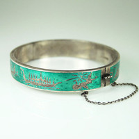 Vintage Siam Sterling Bracelet Teal Enamel Hinged by zephyrvintage