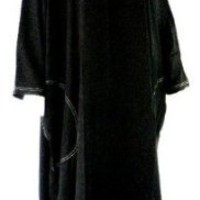 BLACK HOODED CAFTAN DRESS FITS - M L 1X 2X 3X 4X 5X - D236S