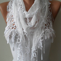 White Scarf with Trim Edge Very Thin Cotton Fabric by SwedishShop