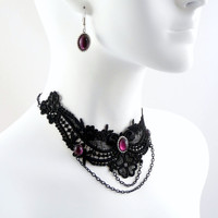 Victorian Black Lace and Amethyst Glass Jewelry Set by Arthlin