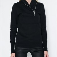 shawl collar zip black