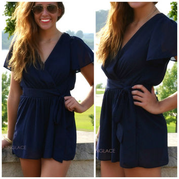 Double Crossed Navy Romper