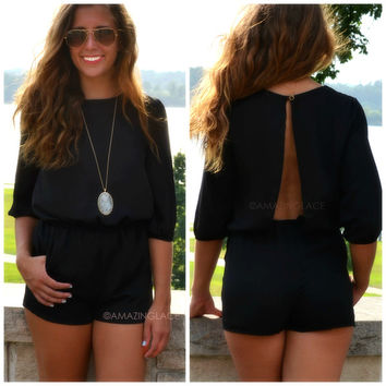 After Midnight Black Open Back Romper