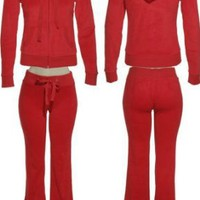 ROMEO &amp; JULIET COUTURE Velour Active Set [RJ25960P/ RJ25960J], Red