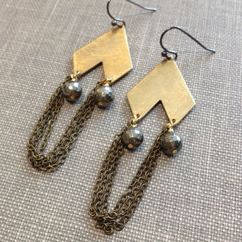 mixed metal gold chevron geometric chain fringe chandelier earrings with pyrite stone brushed metal jewelry modern edgy rocker chic earrings
