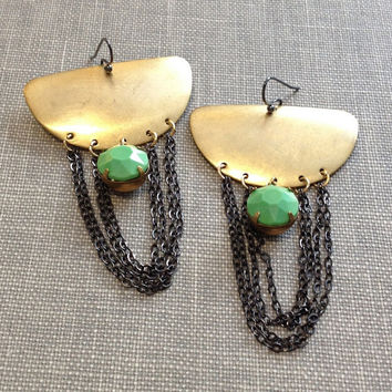 mixed metal earrings // gold crescent and gunmetal chain chandelier earrings // green vintage rhinestone // boho chic statement earrings