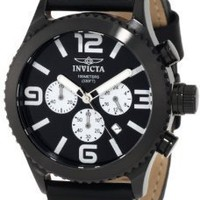 Invicta Men's 1430 II Collection Chronograph Black Dial Leather Watch