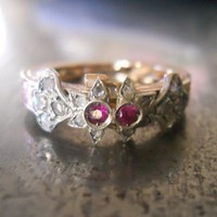Ruby and Rose Cut Diamond Ring that turns into by AntiqueSparkle