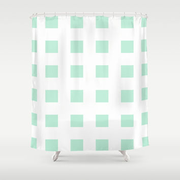 Cross Squares Mint Green Shower Curtain by BeautifulHomes | Society6