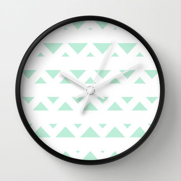 Tribal Triangles Mint Green Wall Clock by BeautifulHomes | Society6