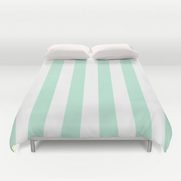 Stripe Vertical Mint Green Duvet Cover by BeautifulHomes | Society6