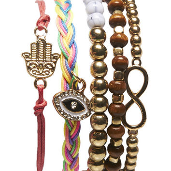 Mixed Hamsa Friendship Bracelet 5-Pack | Wet Seal
