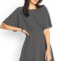 FOREVER 21 Abstract Print Dress Black/Cream