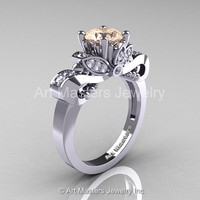 Classic 14K White Gold 1.0 Ct Champagne and White Diamond Solitaire Engagement Ring R323-14KWGDCHD