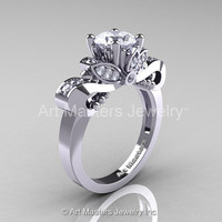 Classic 950 Platinum 1.0 Ct White Sapphire Diamond Solitaire Engagement Ring R323-PLATDWS