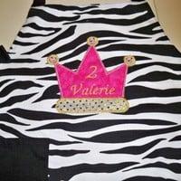 Birthday personalize girls zebra print apron | UniqueEmbroideries - Accessories on ArtFire