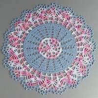 Lovely Crocheted Variegated Pink Blue White Doily - 13""