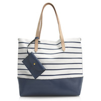 DOWNING TOTE IN STRIPE LEATHER