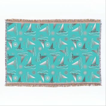 Gray Sailboats and Suns on Teal Blue Throw Blanket