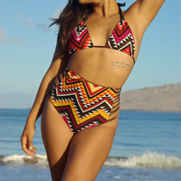 REVERSIBLE : FUJI High Waisted Strappy Bikini Bottoms