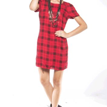 Step in fall with this Classic Chic Plaid Print Shift Dress, featuring shift constructions, smooth rayon material, plaid print throughout, round neckline, short sleeves, exposed back zip(Pale Gold Zipper) closure, and finished with fully lined.