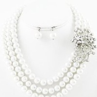 Multi Layer White Faux Glass Pearl Crystal Brooch Necklace Set