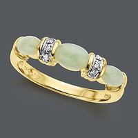 14k Gold Ring, Jade and Diamond Accent - Rings - Jewelry & Watches - Macy's
