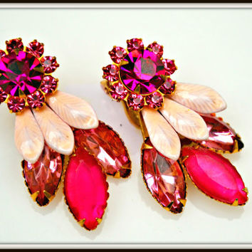 Vintage Pink Rhinestone and Enamel Floral Clip on Earrings