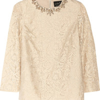 Needle & Thread | Crystal-embellished guipure lace top | NET-A-PORTER.COM