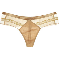 La Perla | Satin-trimmed lace and tulle thong | NET-A-PORTER.COM