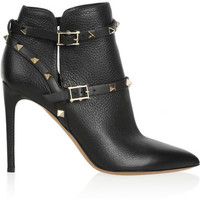 Valentino | Rockstud textured-leather ankle boots | NET-A-PORTER.COM
