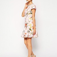 Ted Baker Botanical Bloom Cap Sleeve Top with Embellished Neckline
