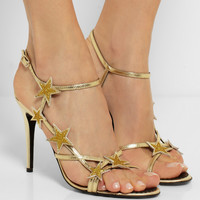 REDValentino | Star embellished metallic leather sandals | NET-A-PORTER.COM
