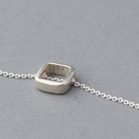 Tiny square necklace in sterling silver  everyday jewelry by Filoe