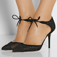 Jimmy Choo - Valor flocked mesh and suede pumps