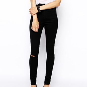 ASOS Ridley High Waist Ultra Skinny Jeans in Clean Black with Ripped Knees