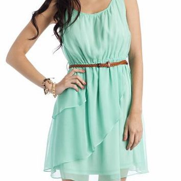 belted chiffon dress $36.30 in CORAL MINT OFFWHITE YELLOW - Casual | GoJane.com