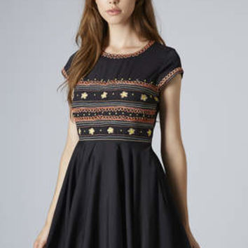 Folk Embroidered Flippy Dress - Black