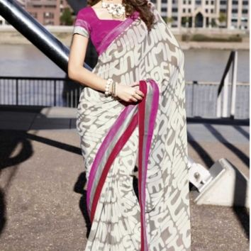 Buy Designer Fancy Printed Georgette Saree Designer wear at Shibori Fashion