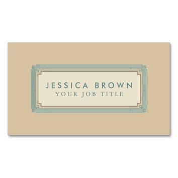 Green vintage frame custom business card.