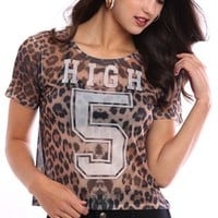 Short Sleeve Cheetah Print Mesh Tee Shirt with High 5 Screen