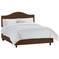 Skyline Furniture Micro-Suede Queen Nail Button Bed, Chocolate