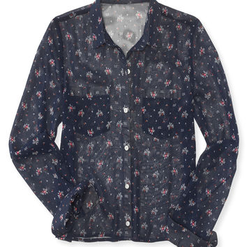 Long Sleeve Sheer Floral Woven Shirt