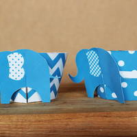 Printable 3D Elephant Cupcake Wrapper Set in blue chevron and polka dot patterns – perfect for a baby shower or birthday - INSTANT DOWNLOAD