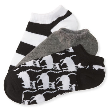 3-Pack Meow Stripe Ped Socks
