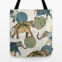 Elephant Polka Tote Bag by Paula Belle Flores