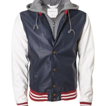 Hooded Faux Leather Varsity Jacket